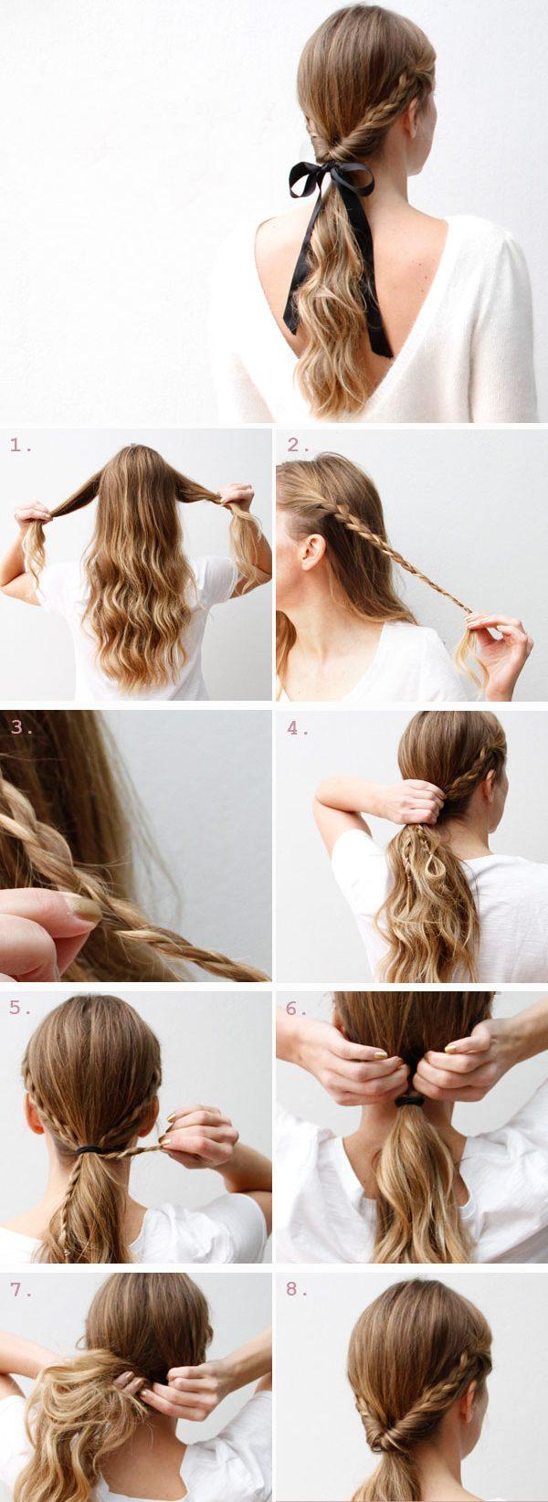 Причёски с жгутами на скорую руку