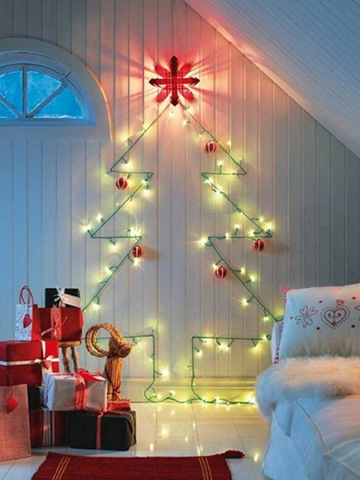 Как украсить стену в комнате к новому году своими руками