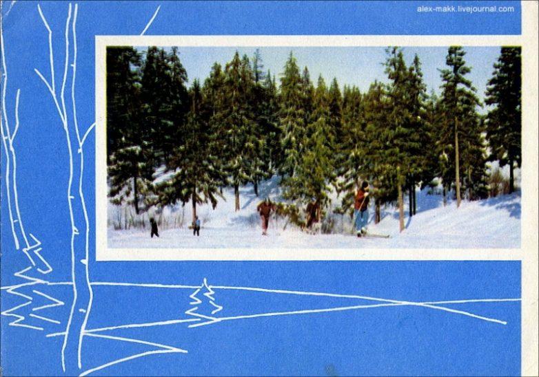 Двойные открытки с новым годом