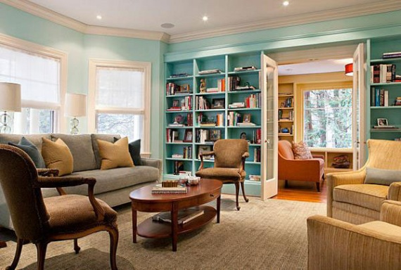 Decorate bookshelves living room