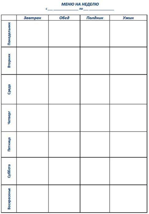 1ce1f79fa5b2 Скачать этот бланк-шаблон «меню на неделю» можно в формате doc в конце  этого поста.