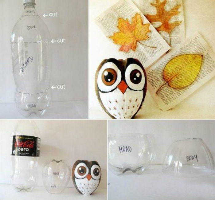 как сделать сову из пластмассовой бутылки