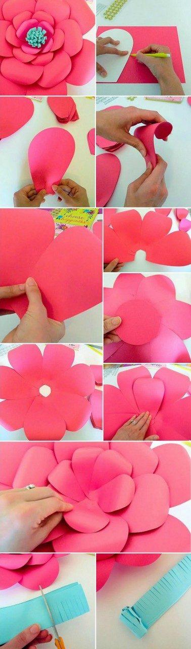 Большие цветы бумаги своими руками