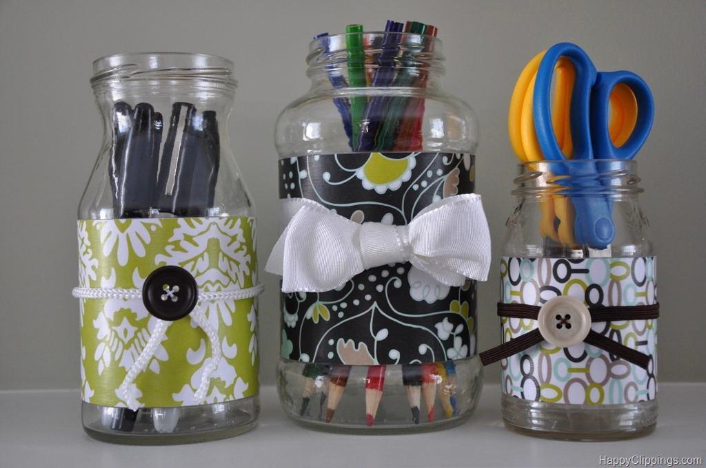 Как сделать из стеклянной банки вазу