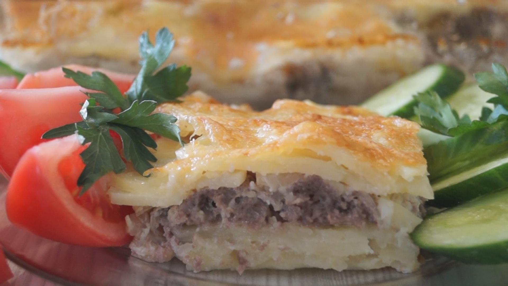 Запеканка картофельная с фаршем и с сыром в духовке рецепт с пошагово