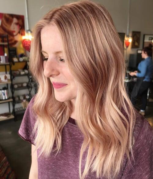 Идеи окрашивания волос в розовое золото