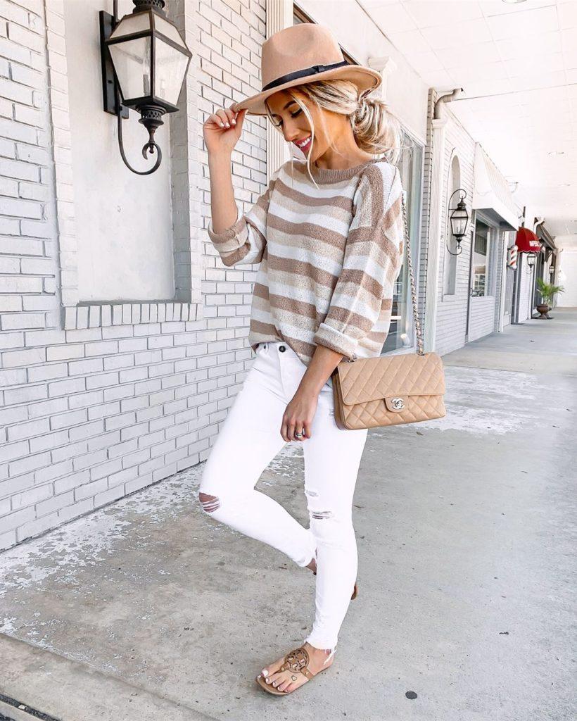 Шикарные образы с белыми джинсами