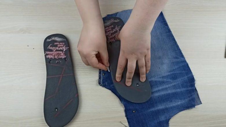 Обувь для лета из старых джинс