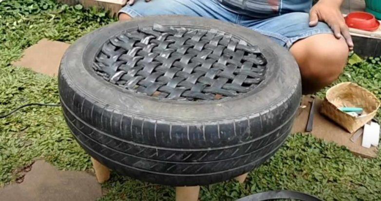 Табурет из старой автомобильной покрышки