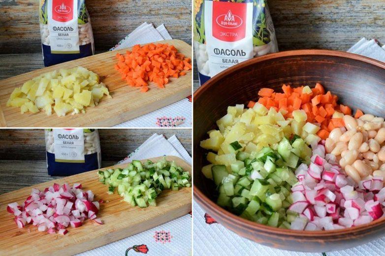 Постный салат с фасолью как альтернатива оливье