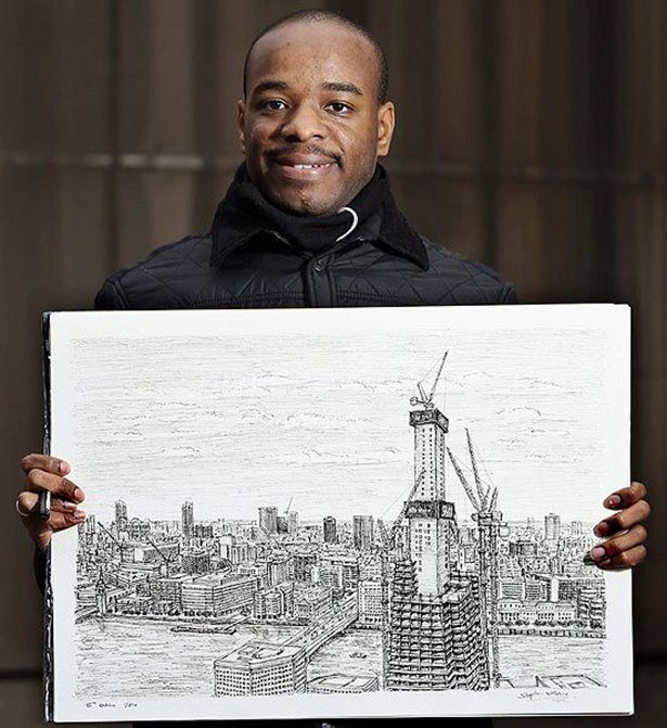 человек с фотографической памятью рисующий города