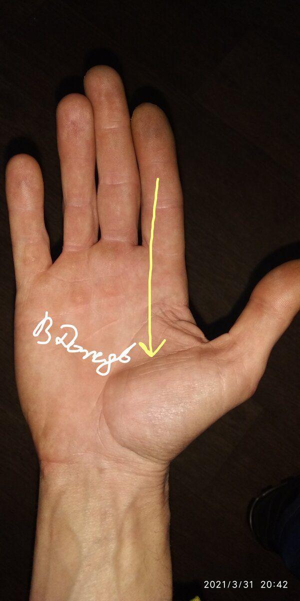 Линия порчи на руке, указывающая на негатив или магическое воздействие